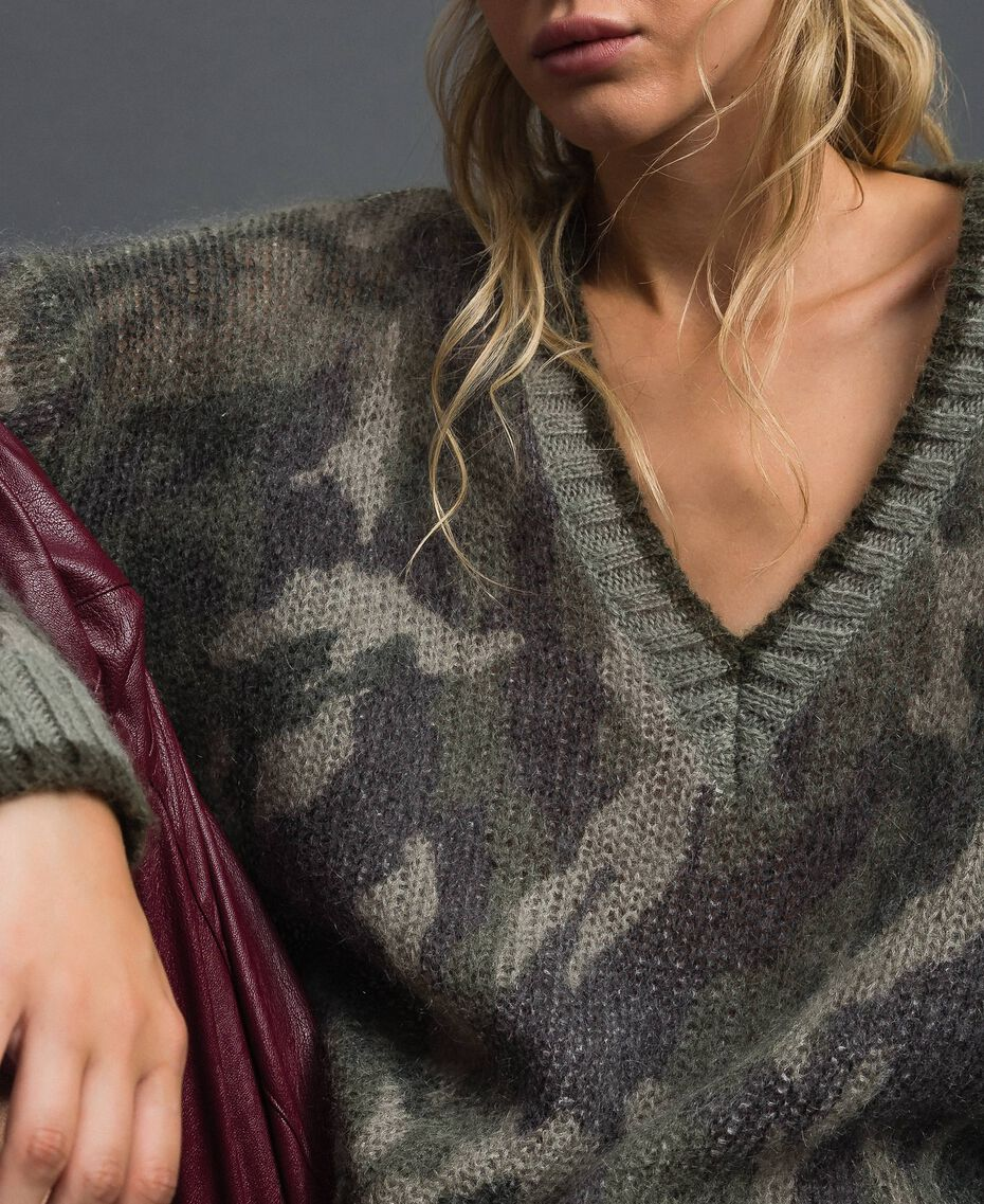 Maxi maglia in mohair stampato Stampa Camouflage Donna 192TT3330-01