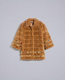 Manteau en fausse fourrure et paillettes Chameau Femme PA82KB-0S