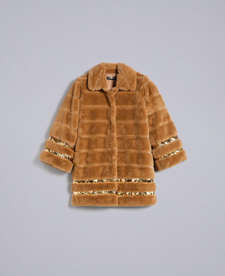 Cappotto in similpelliccia e paillettes Camel Donna PA82KB-0S