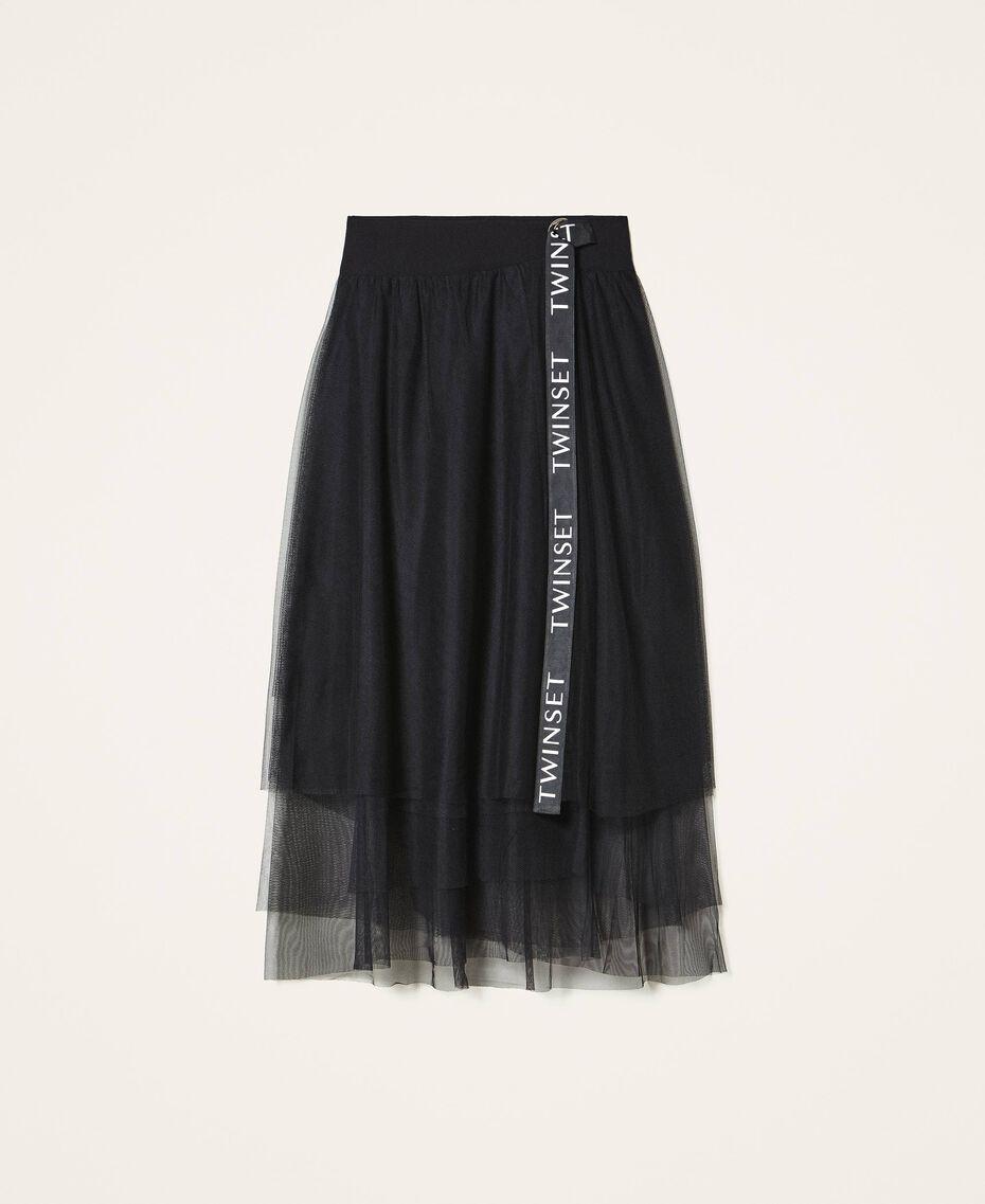 Jupe longue en tulle avec logo Noir Femme 202TT2T56-0S