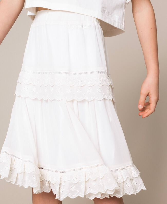 Creponne skirt with broderie anglaise Off White Child 201GJ2462-04