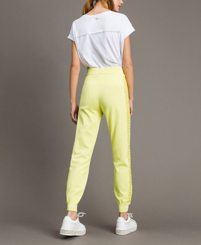 """Jogging trousers with lace-effect panels """"Lemon Juice"""" Yellow Woman 191LL36CC-03"""
