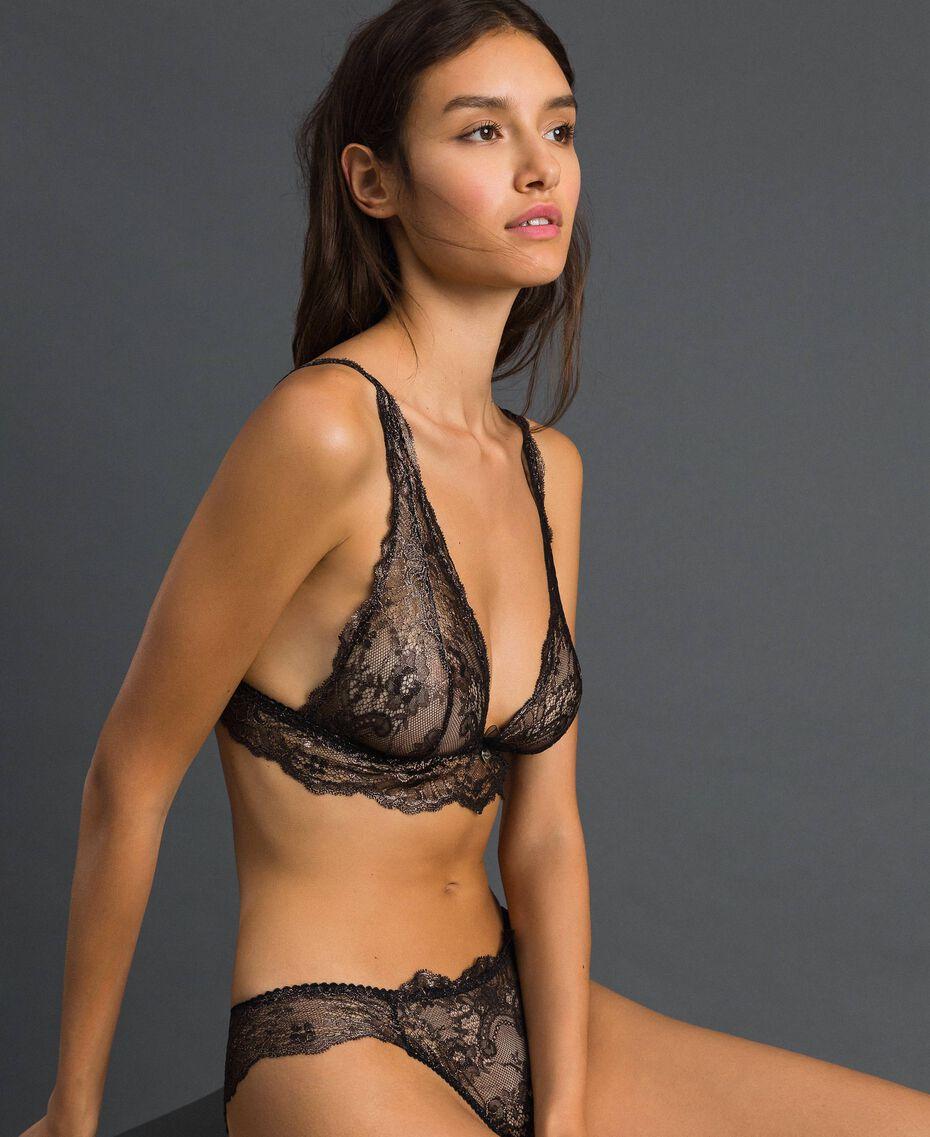 Laminated lace Brazilian briefs Bronze Woman 192LL6H77-02