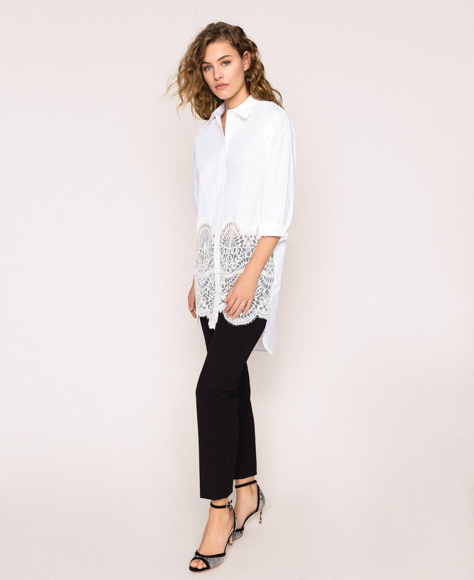 Поплиновая рубашка с кружевом Белый женщина 201TP2040-01