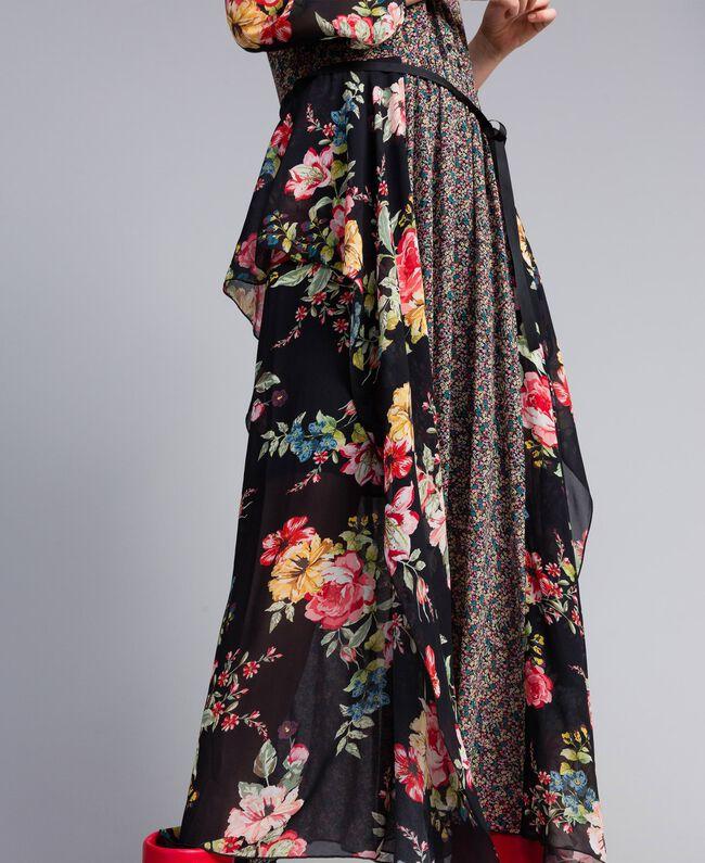 Robe longue en crêpe georgette avec imprimé floral Imprimé Fleur Patch Femme PA82MC-04