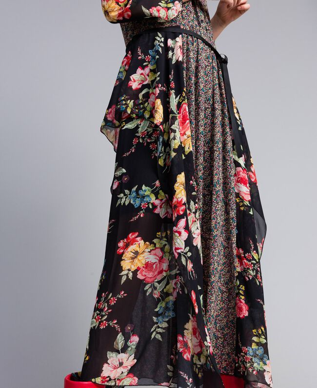 "Maxikleid aus Georgette mit Blumenprint Print ""Flower Patch"" Frau PA82MC-04"