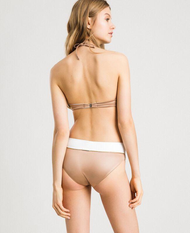 "Push-up-Bikinitop im Color-Block-Look Zweifarbig Elefnbeinfarben / ""Petra Sandstone"" Braun Frau 191LMMH44-03"