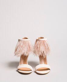 Sandali alti in pelle con piume Rosa Bocciolo Donna 191TCP210-05