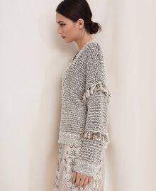 Пуловер из фасонной крученой пряжи с люрексом Разноцветный Слоновая кость / Черный женщина 201TP3162-02