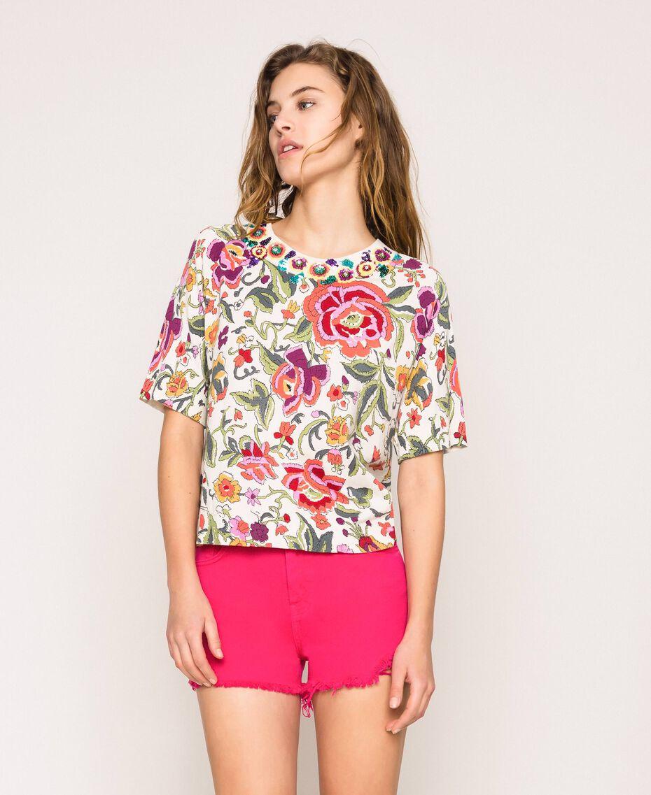 Pull-cardigan imprimé et brodé Imprimé Fleurs Sugar Coral Femme 201TT3170-02