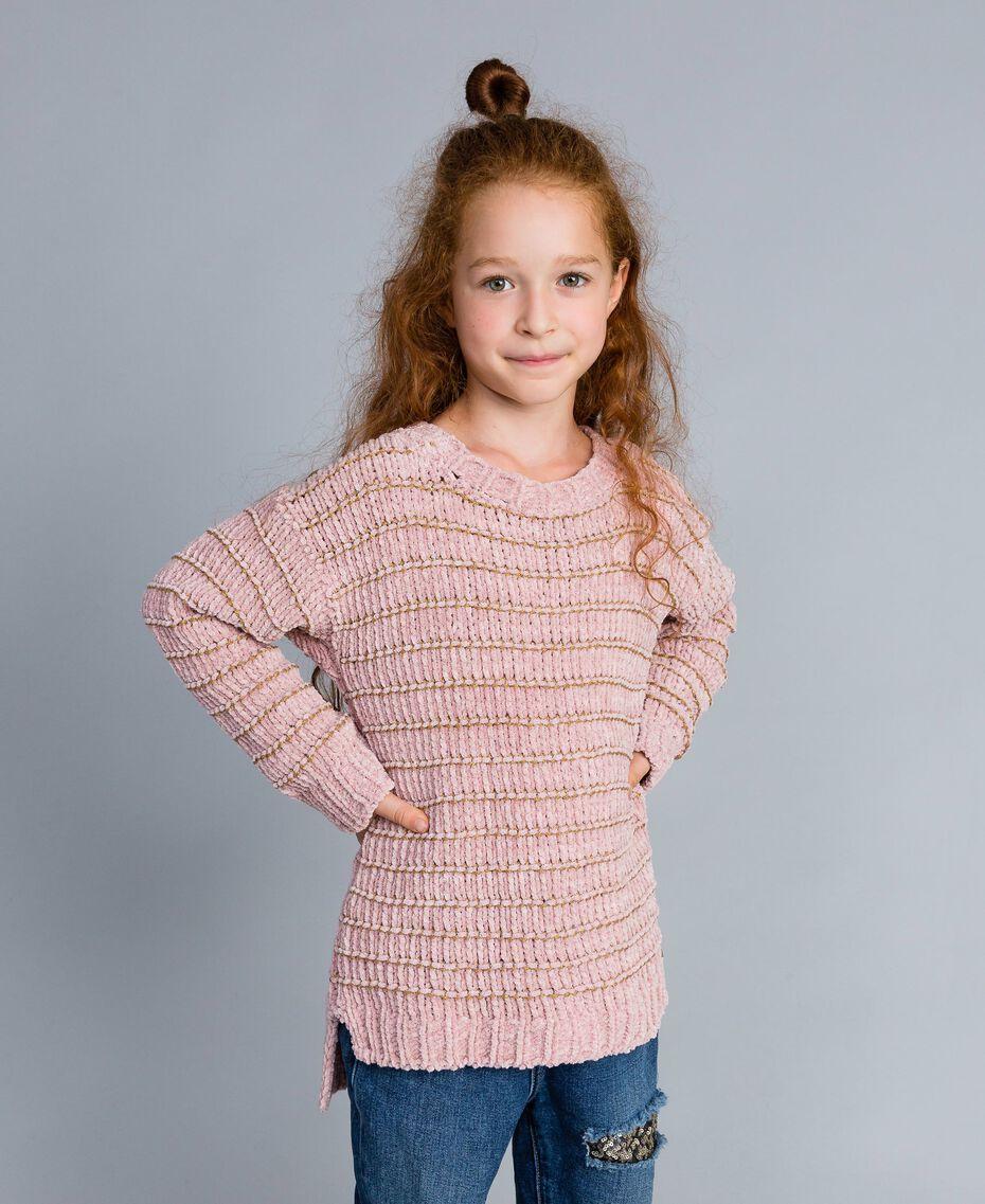 Chenille jumper with lurex Rose / Gold Lurex Jacquard Child GA83K1-02