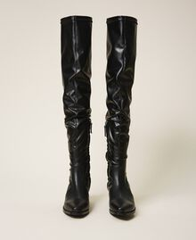 Thigh-high boots with stretch leg Black Woman 202TCP170-05