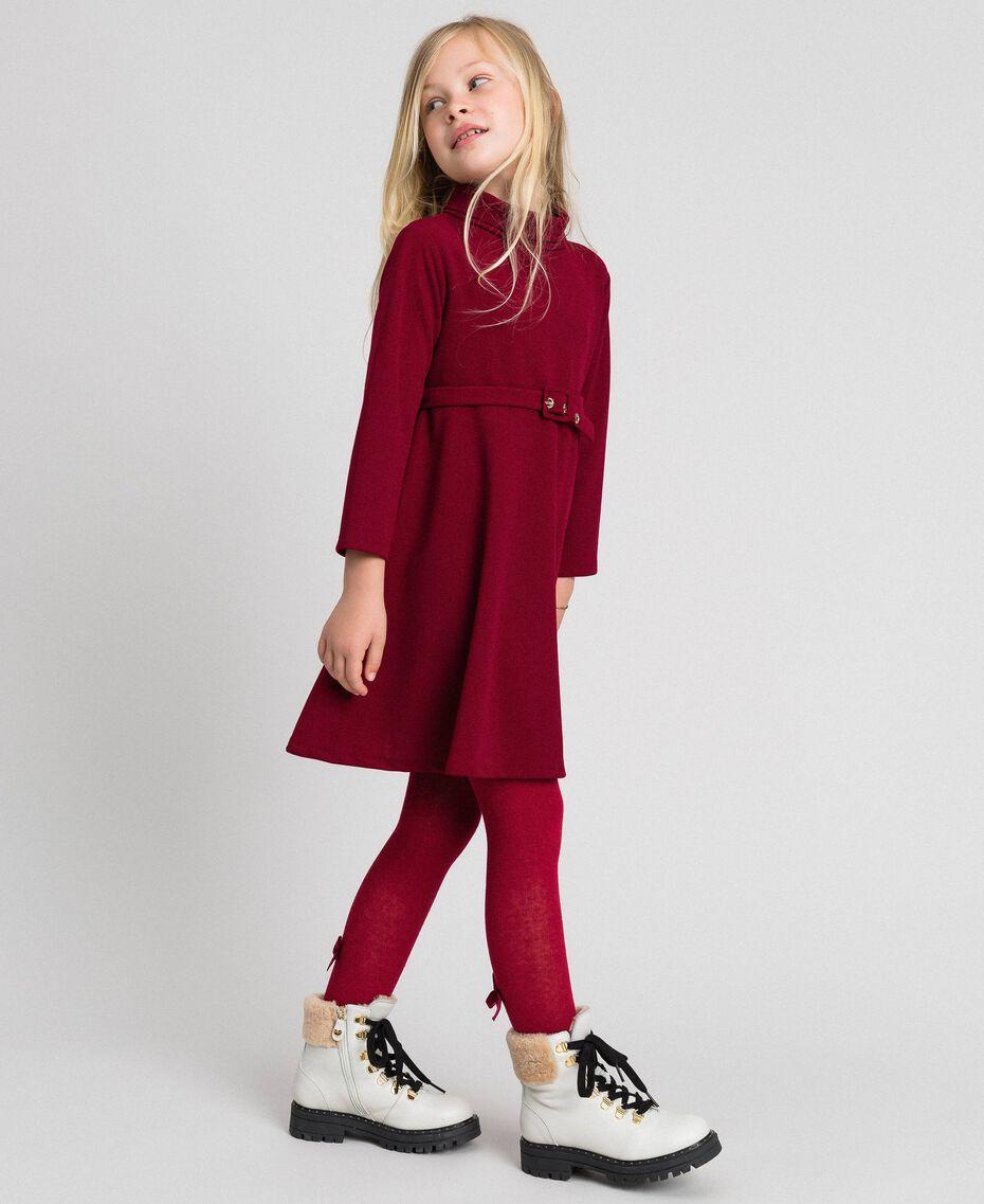 Vestido de crepé con cinturón Rojo Vino rubí Niño 192GJ2452-02