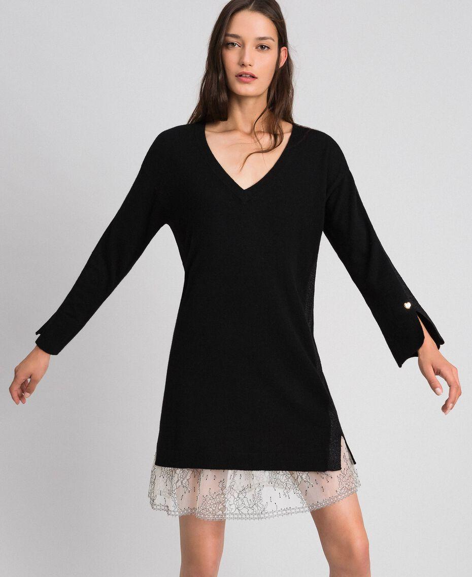 Kleid mit Lurexstreifen und Unterkleid Schwarz Frau 192MP3100-02