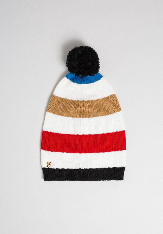 Bonnet en maille multicolore avec pompon