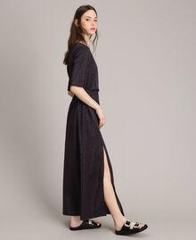 Lurex long dress with slit Black Woman 191LB23EE-02