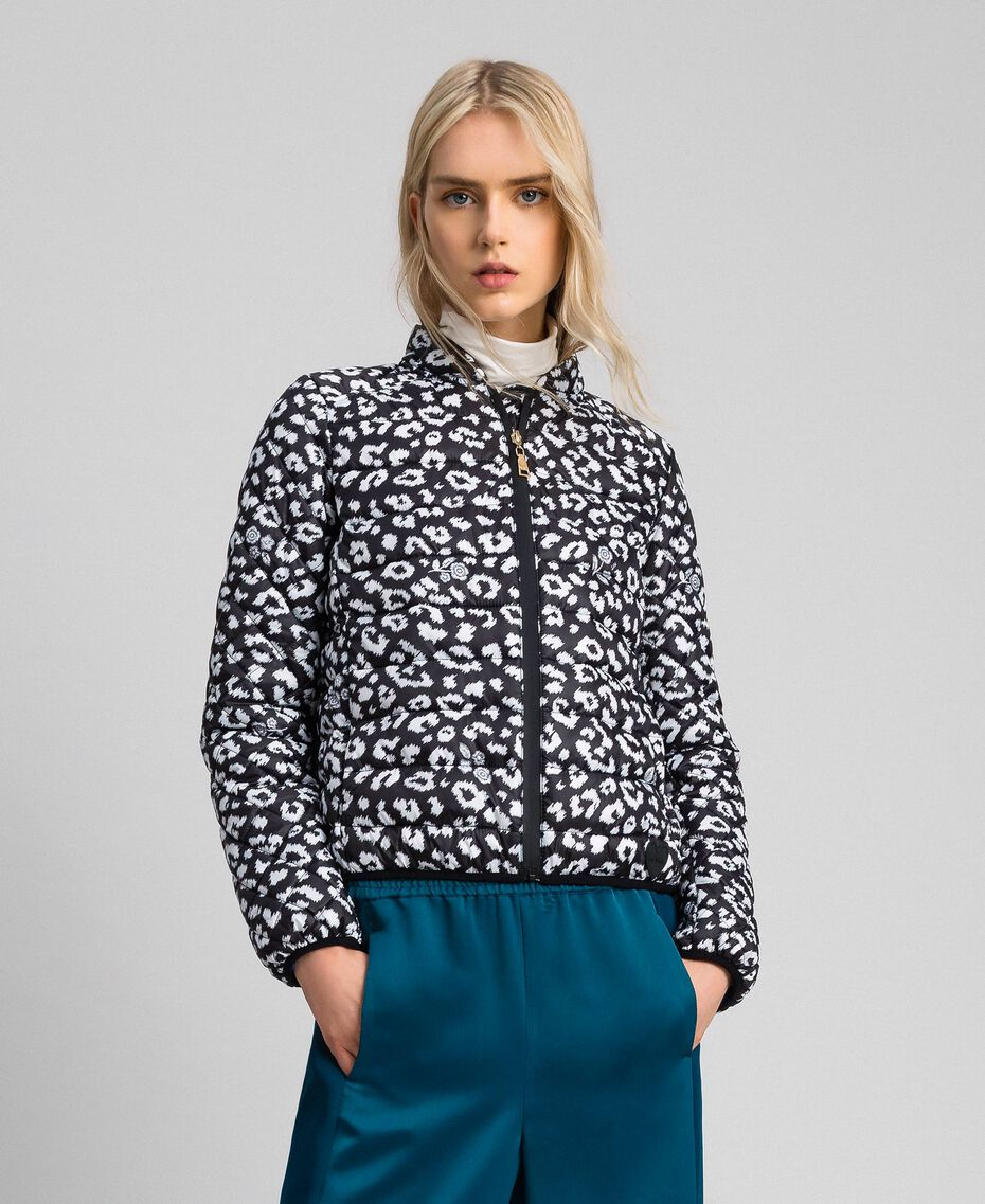 Ultra-light puffer jacket, animal print Black / Lily Animal Print Woman 192MP2100-01