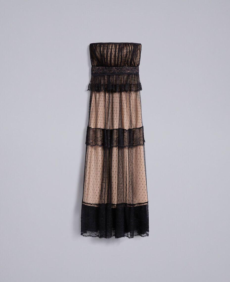 Langes Bustierkleid aus Plumetis-Tüll und Spitze Schwarz Frau TA82XC-0S