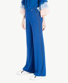 Pantalon palazzo Jacquard Lurex Bleu Marine «Pivoine» Femme SS83EE-02