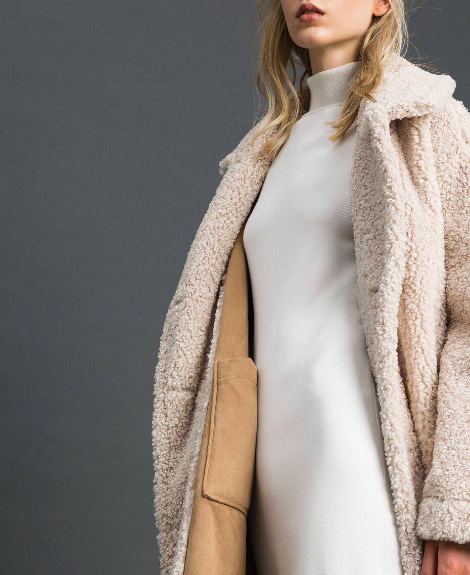 Manteau réversible en faux mouton Blanc «Vanille» / Crème Caramel Femme 192MT2020-07