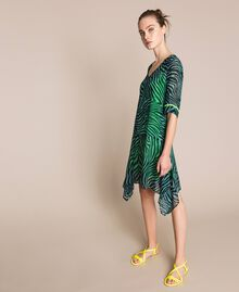 "Georgette animal print dress ""Atlantic Deep"" Green Zebra Print Woman 201LB2GGG-0T"