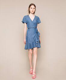 Flowing denim dress with flounce Denim Blue Woman 201MT2193-0T