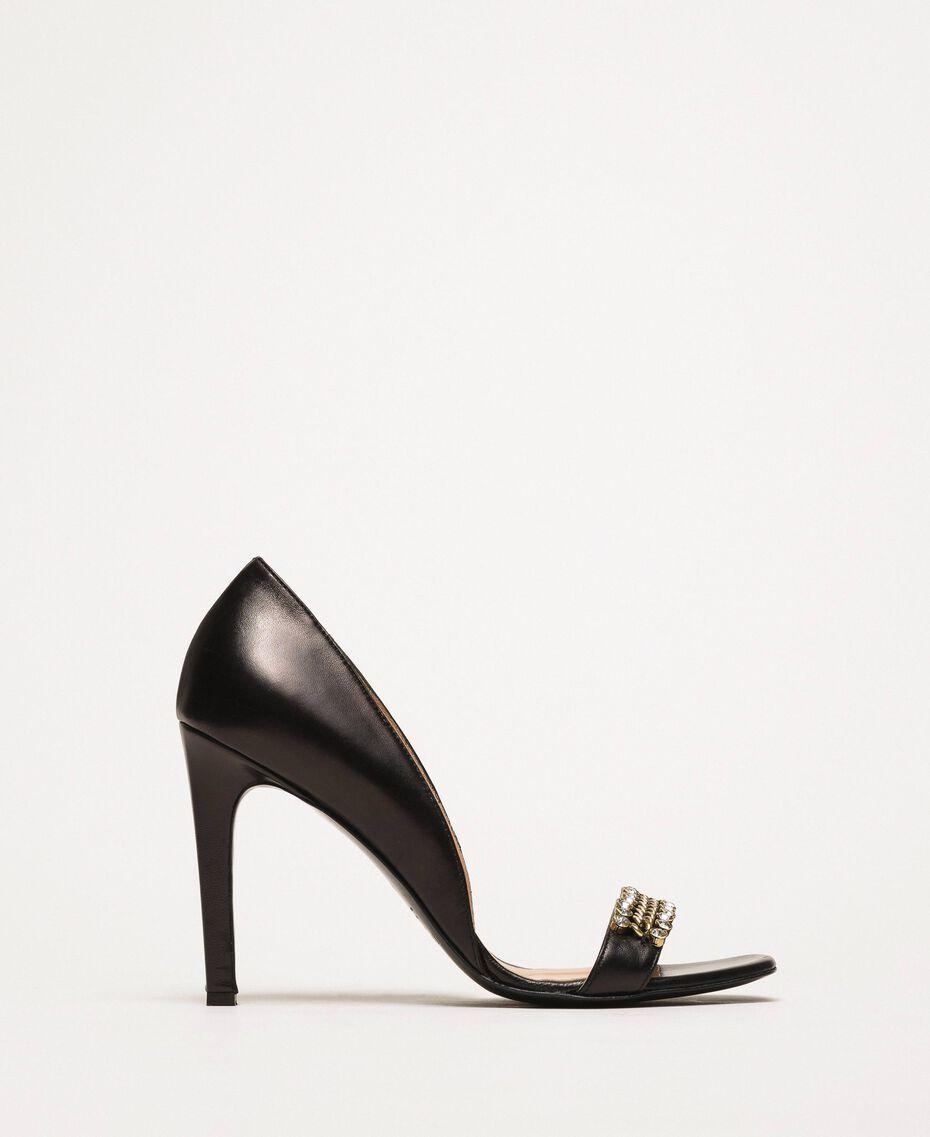 Sandales avec talon stiletto et pierres Noir Femme 201TCP090-02