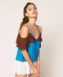 "Colour block georgette top with flounces Multicolour ""Bay"" Blue / ""Choco"" Brown / Optical White Woman 201LM2HHH-03"