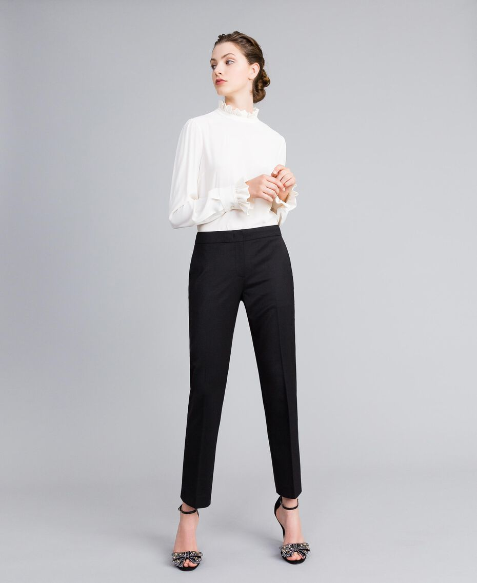 Cool wool drainpipe trousers Black Woman PA823P-02