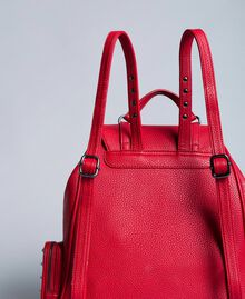 Rucksack aus Lederimitat mit Nieten Rot Mohn Frau VA8PAC-03