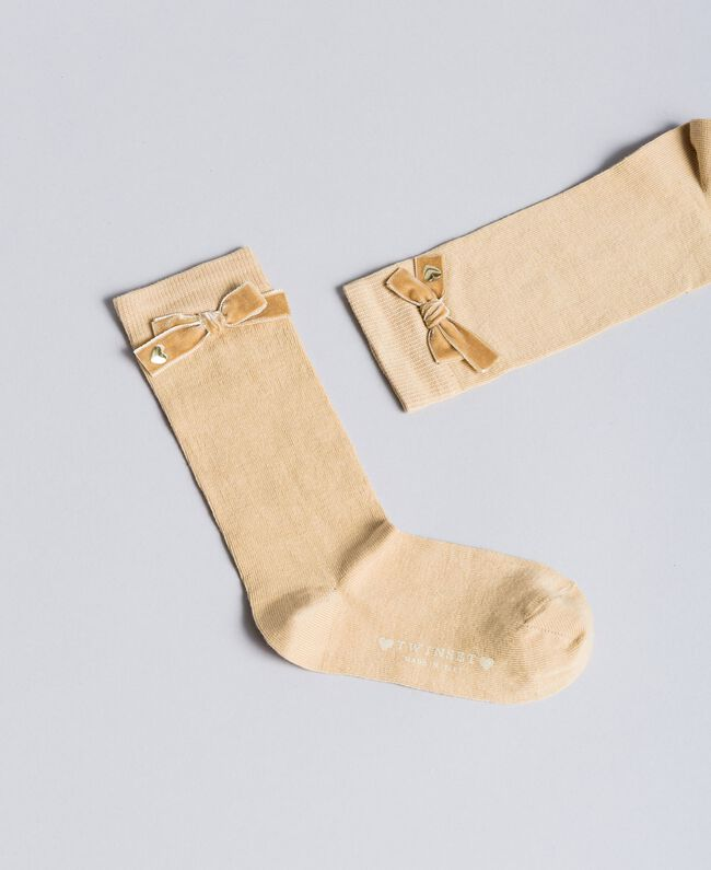 Strümpfe aus Stretch-Baumwolle Karamellbraun Kind GA8ABA-01