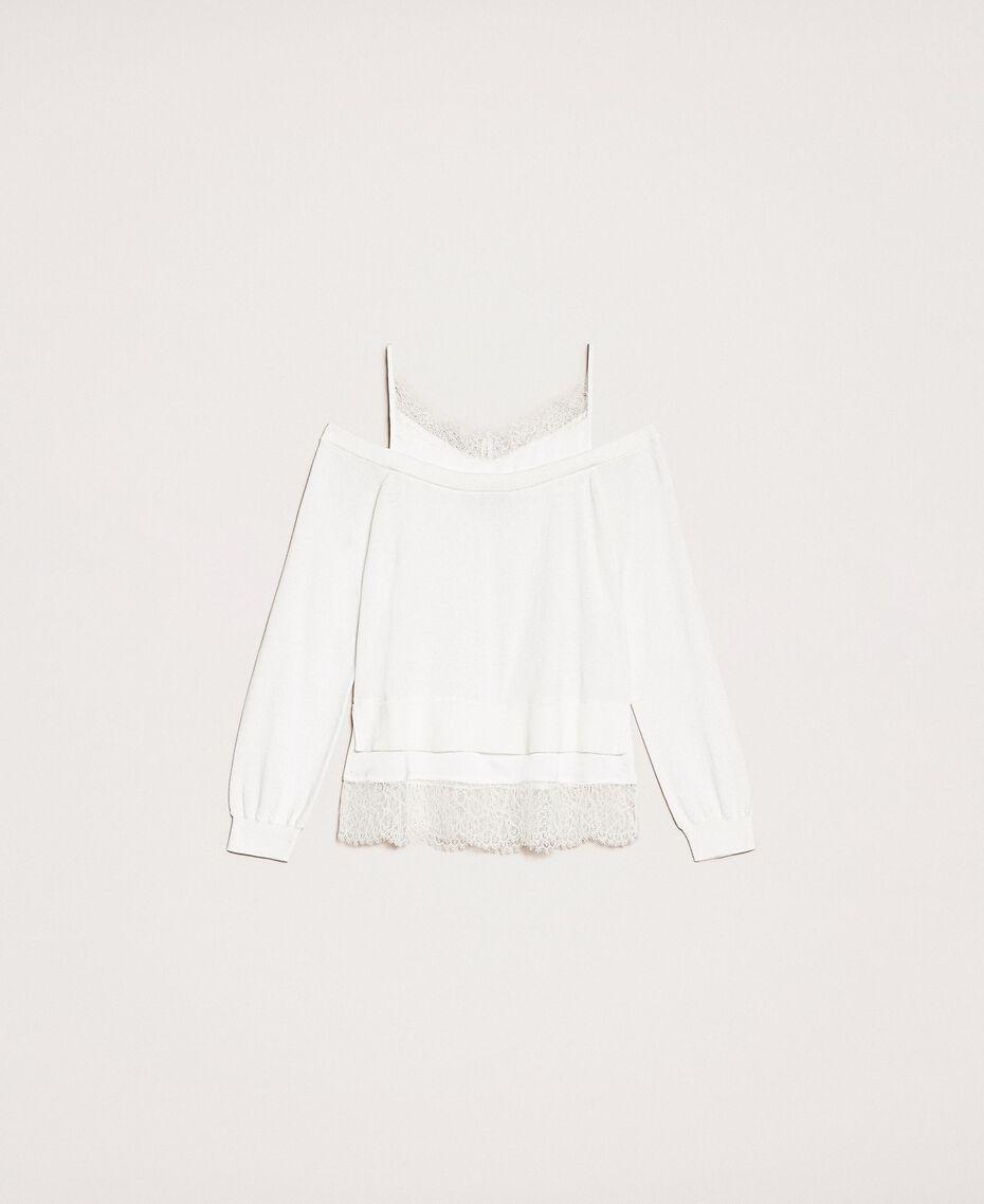 Трикотажная кофта с атласной ложной комбинацией Белый Снег женщина 201TP3073-0S