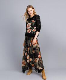 Chiffon long skirt with floral print Maxi Black Tulip Print Woman TA825V-01
