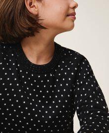 "Printed jumper-cardigan with rhinestones Black / ""Snow"" White Star Print Child 202GJ3640-06"