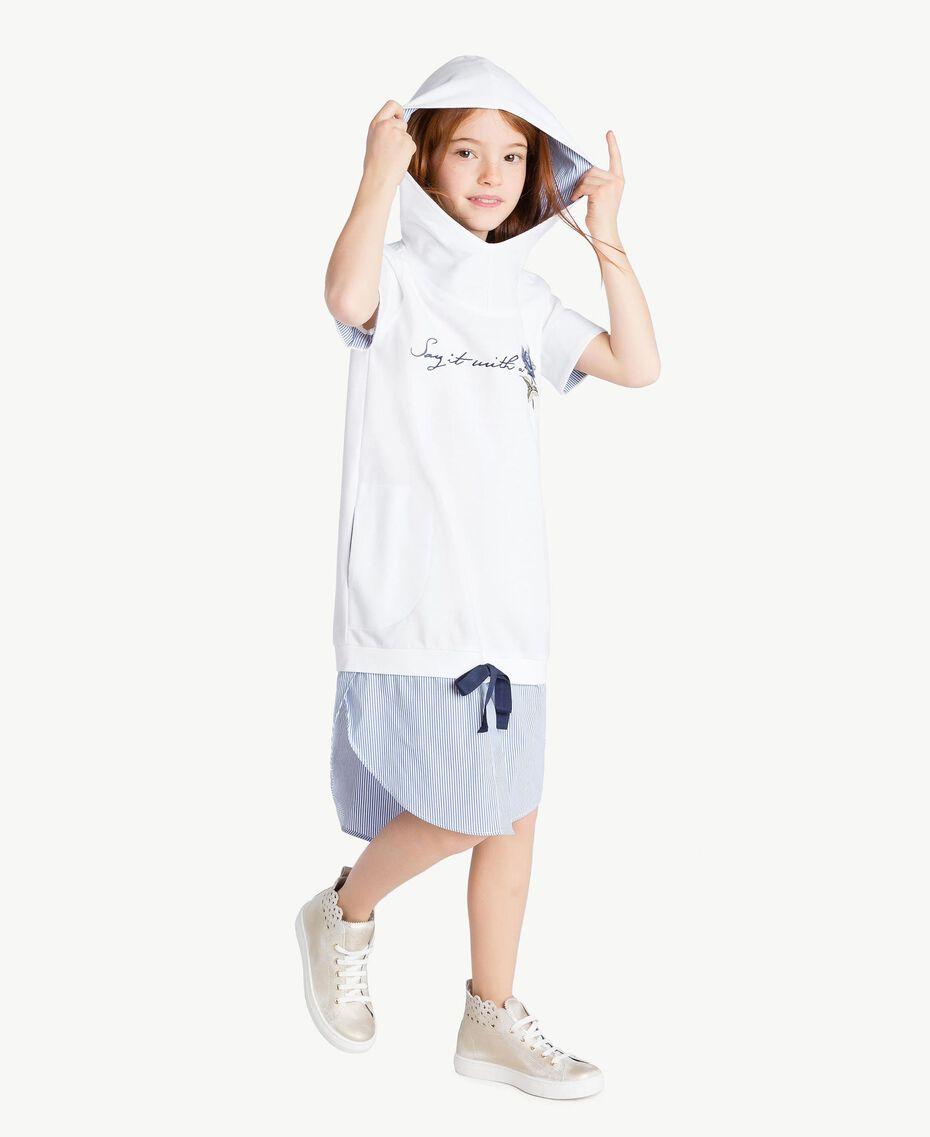 "Embroidered dress ""Papyrus"" White / Light Blue Jacquard Child GS82LN-03"
