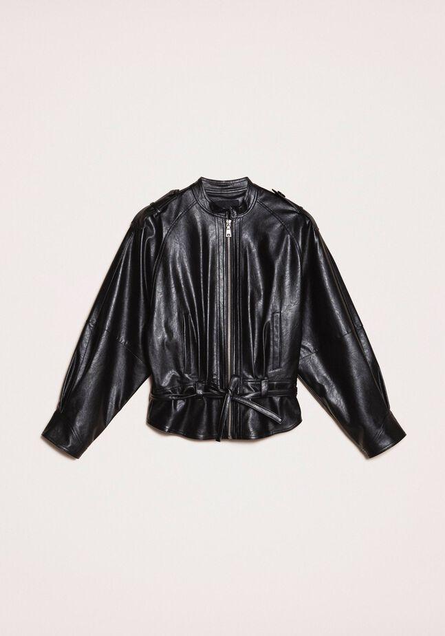 Oversize faux leather bomber jacket