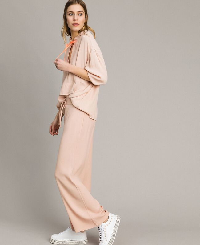 Crêpe palazzo trousers Delicate Pink Woman 191LL23EE-04