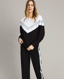 Gabardine sweatshirt with lurex insert Two-tone Black / Optical White Woman 191LL25EE-02
