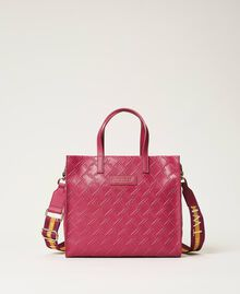 Bolso shopper Twinset Bag mediano con logo Morado «Red Plum» Mujer 202TB7161-01