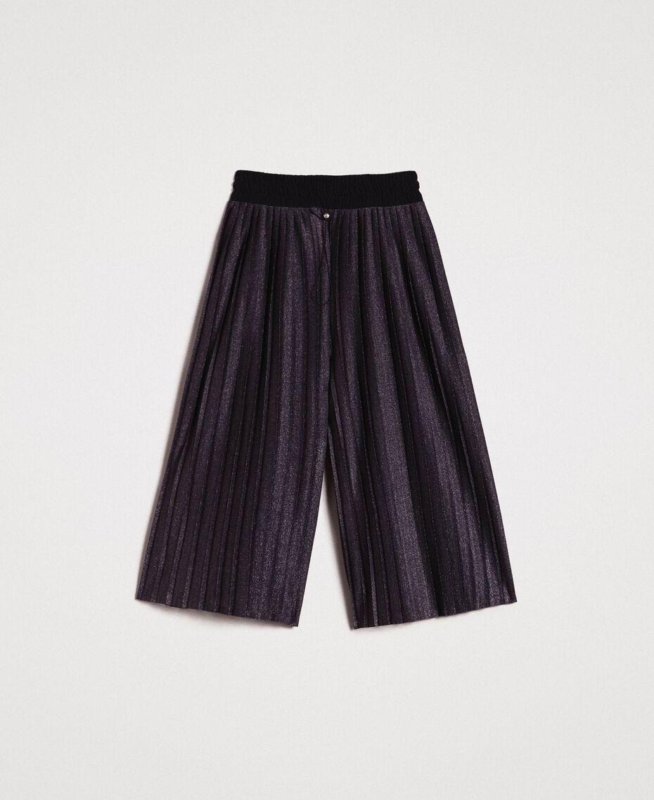 Pantaloni cropped in lurex Nero Donna 191LB23AA-0S