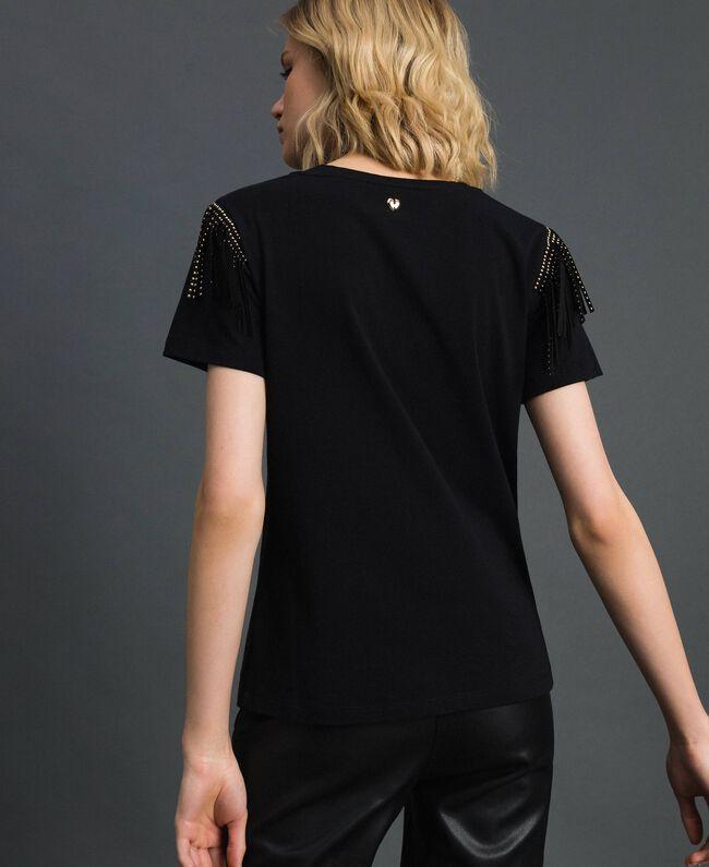 T-Shirt mit Flockdruck-Logo, Nieten und Fransen Schwarz Frau 192MP2450-03