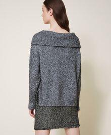 Pull tricoté dans un jeu de points fantaisie et de torsades Gris «Lurex» Femme 202TT3112-03
