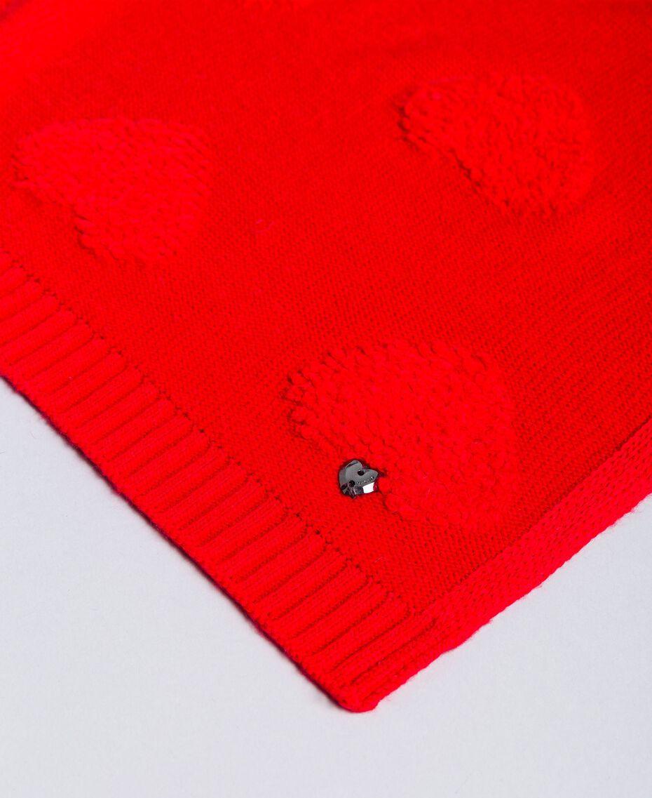 Schal mit Herzen aus Chenillestickerei Rot Mohn Frau VA8P2U-02