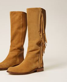 """Leather boots with fringes """"Cigar"""" Beige Woman 212TCP106-04"""