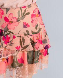 "Gonna in chiffon a stampe floreali Stampa Pink Tulipano ""Tea Garden"" Donna TA829A-04"