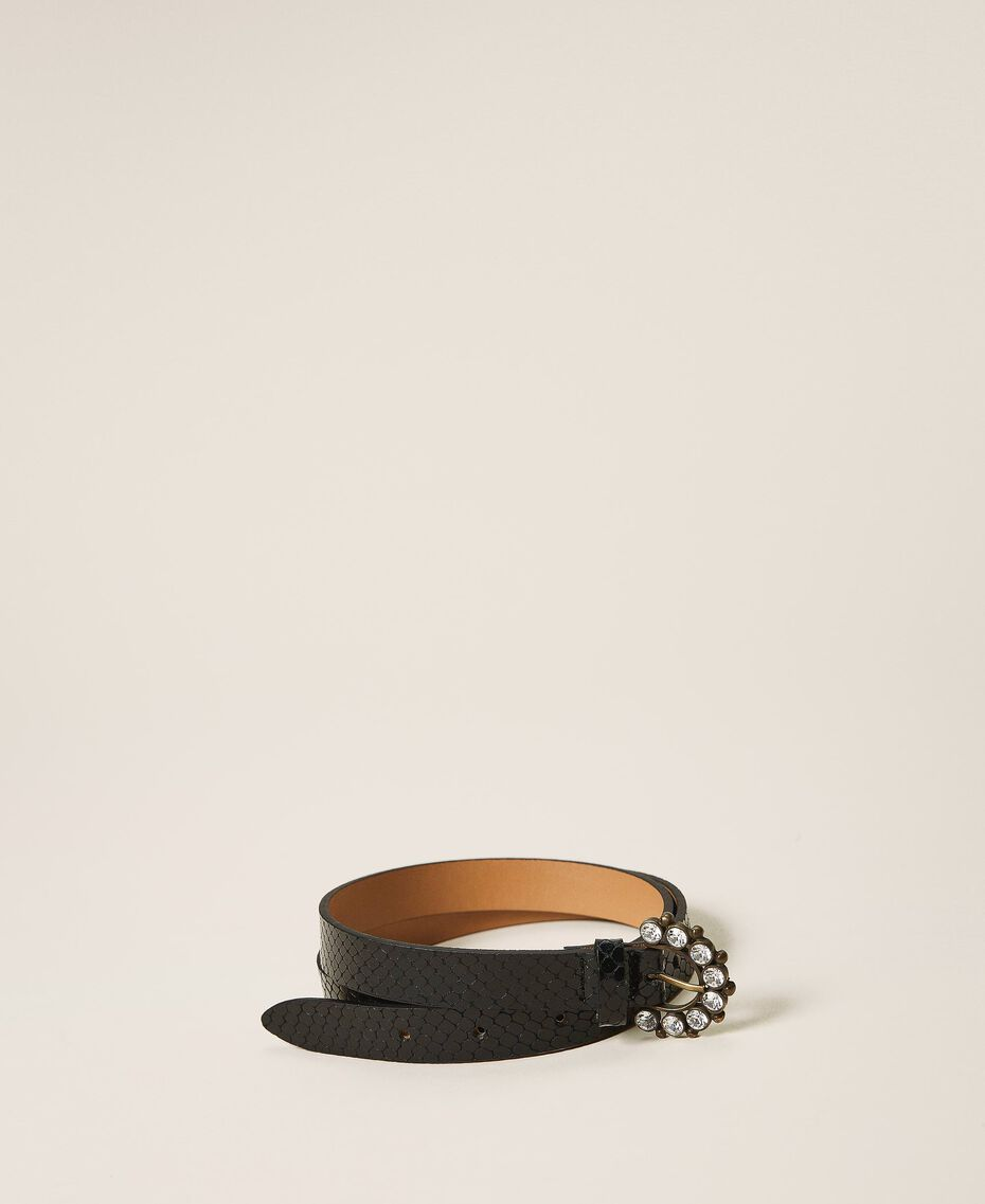 Leather belt with jewel buckle Black Python Print Woman 202TO5015-02