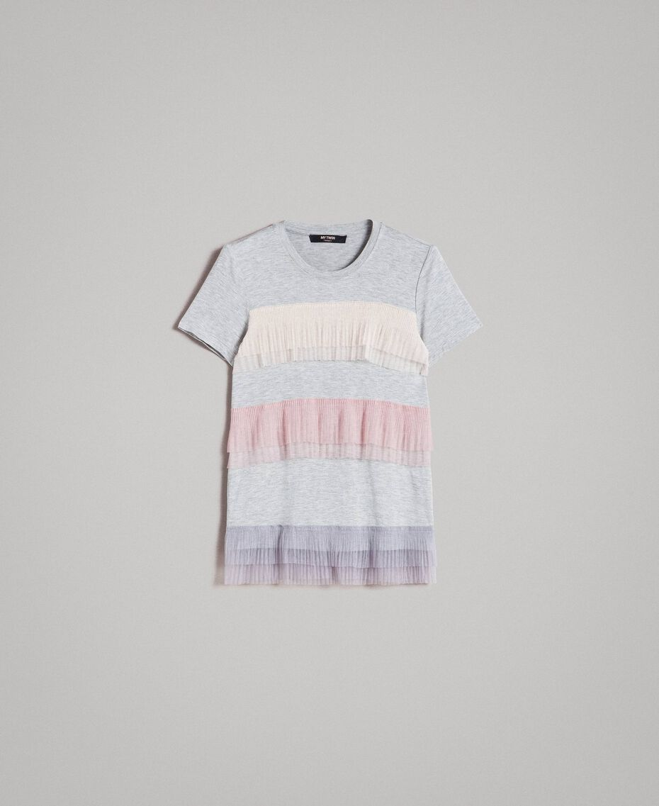 T-shirt with pleated tulle flounces Muticolour Tulle Woman 191MP2230-0S