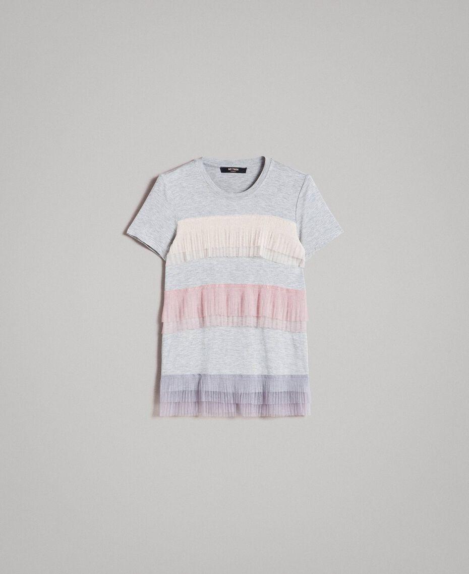 T-shirt avec volants en tulle plissé Multicolore Tulle Femme 191MP2230-0S