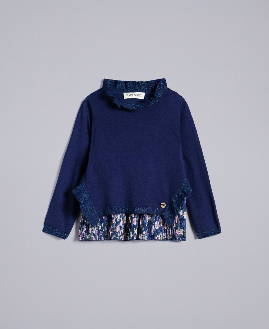 Pullover mit Rüschen und Plisseetop Zweifarbig Blackout-Blau / Mikroblumen Kind FA83B2-01
