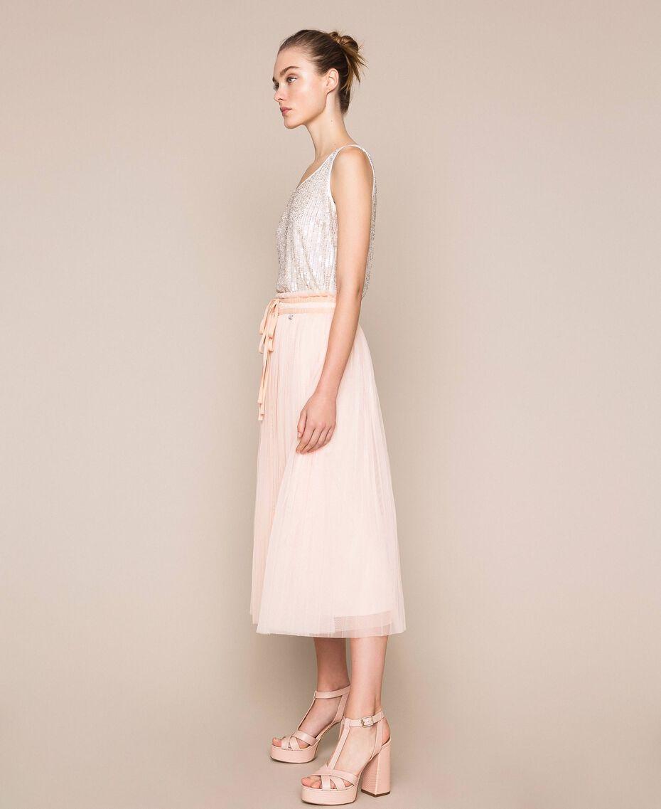 Jupe mi-longue en tulle plissé Quartz Rose Femme 201MP2122-02